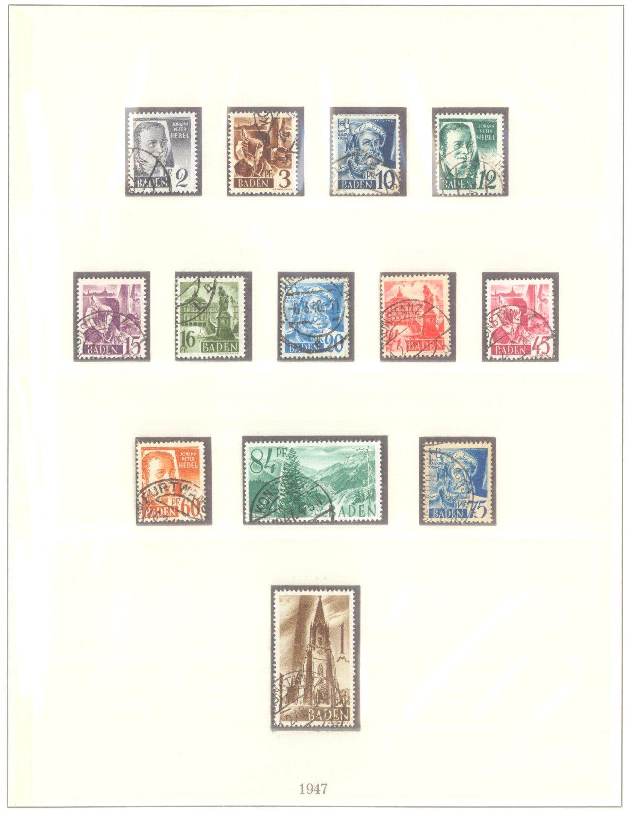 FRANZÖSISCHE ZONE BADEN 1947-1948, Freimarken (I-III)