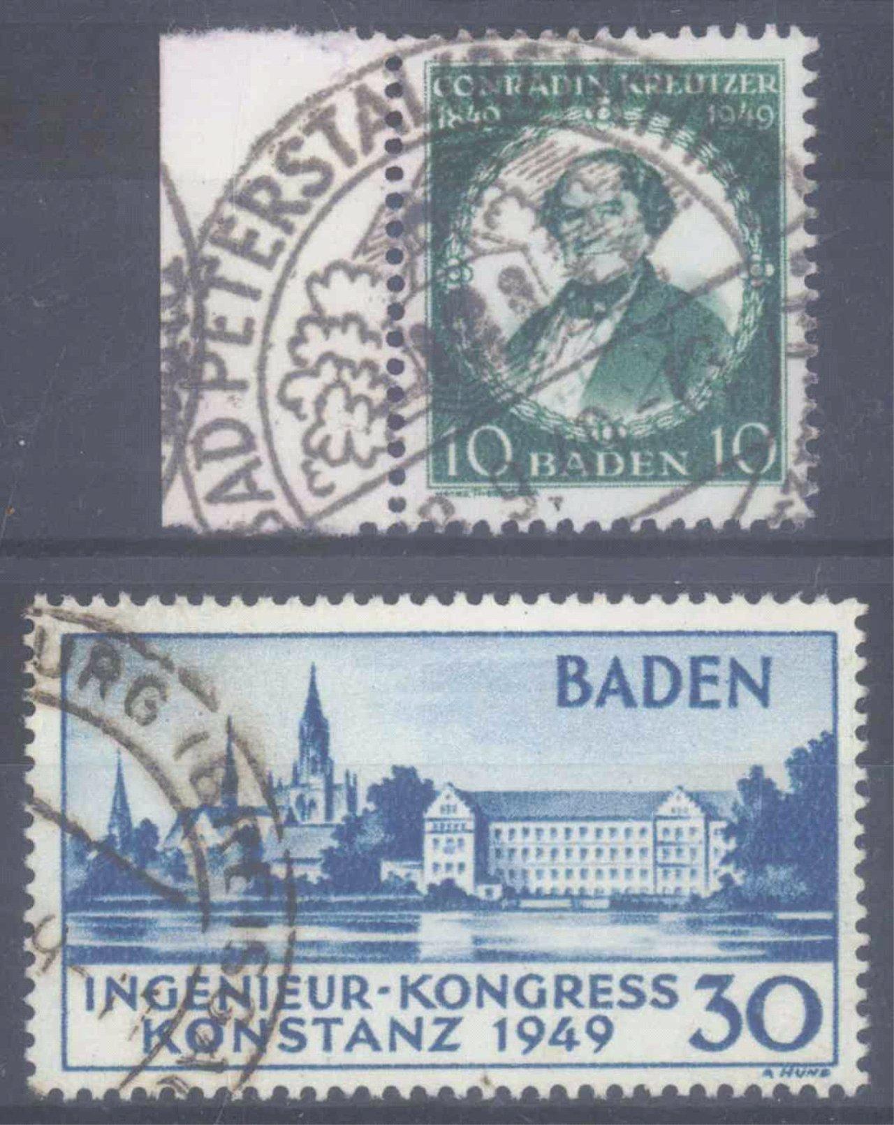 FRANZÖSISCHE ZONE BADEN 1949, KONSTANZ I und Kreutzer