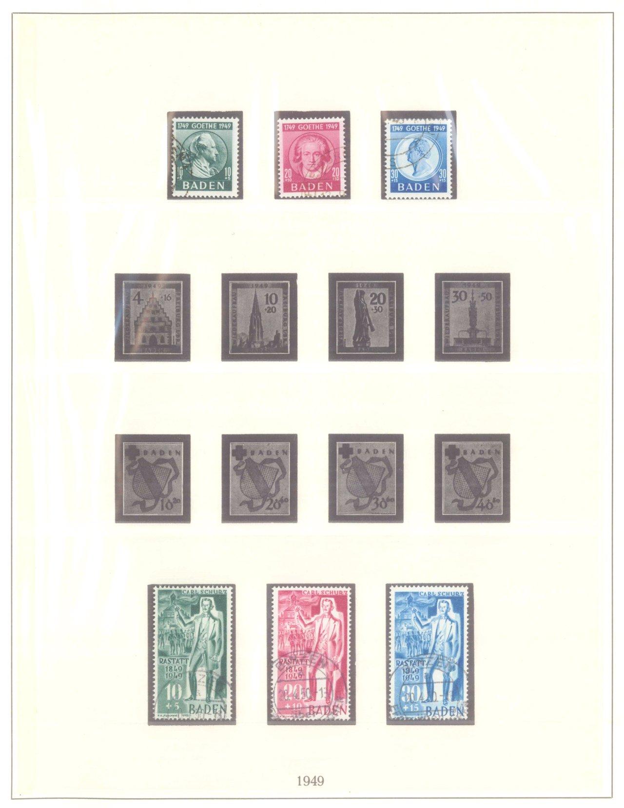FRANZÖSISCHE ZONE BADEN 1949, 4 komplette Ausgaben