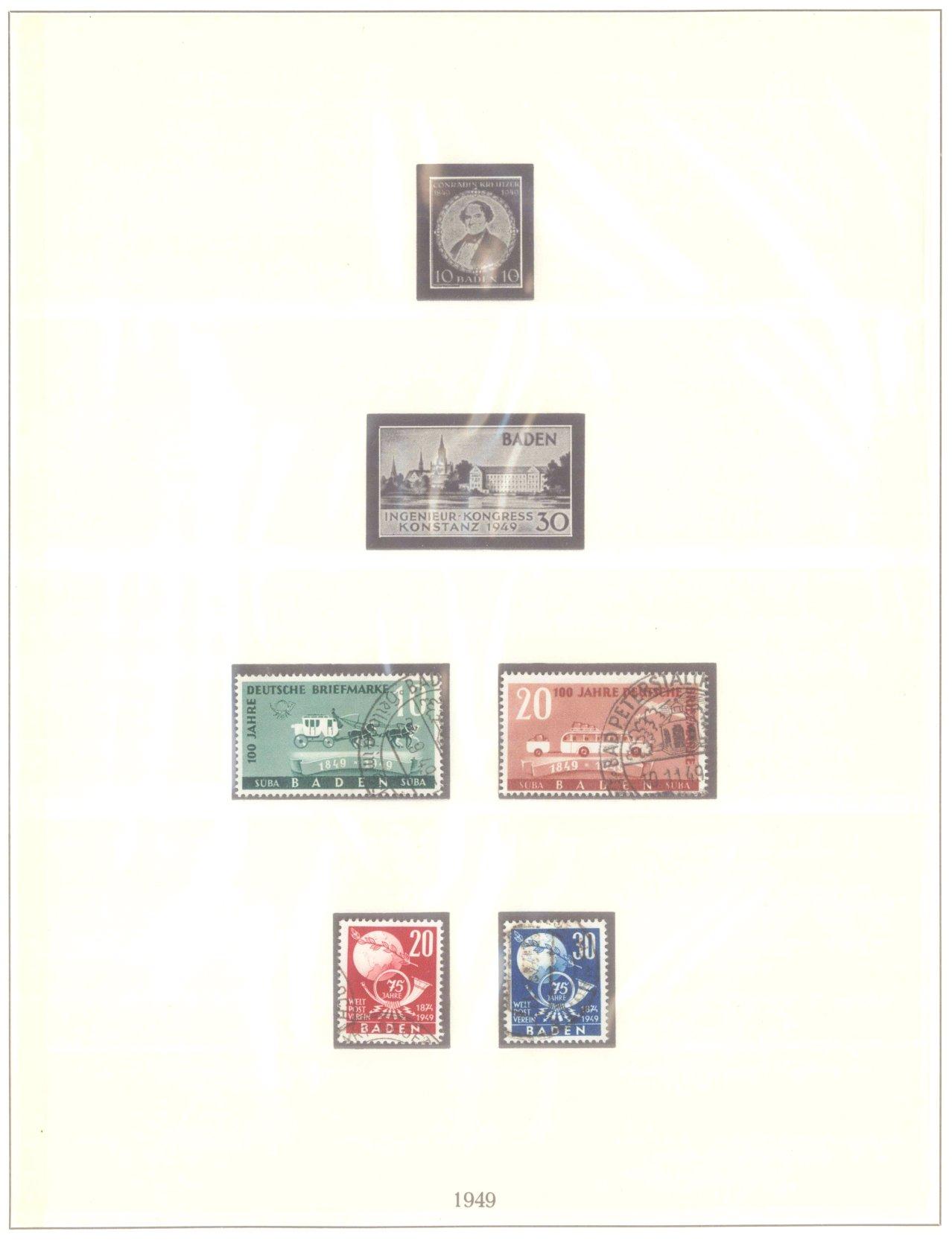 FRANZÖSISCHE ZONE BADEN 1949, 4 komplette Ausgaben-1
