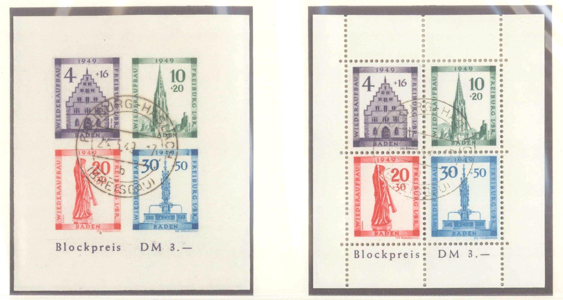 FRANZÖSISCHE ZONE BADEN 1949, Wiederaufbau-Blocks