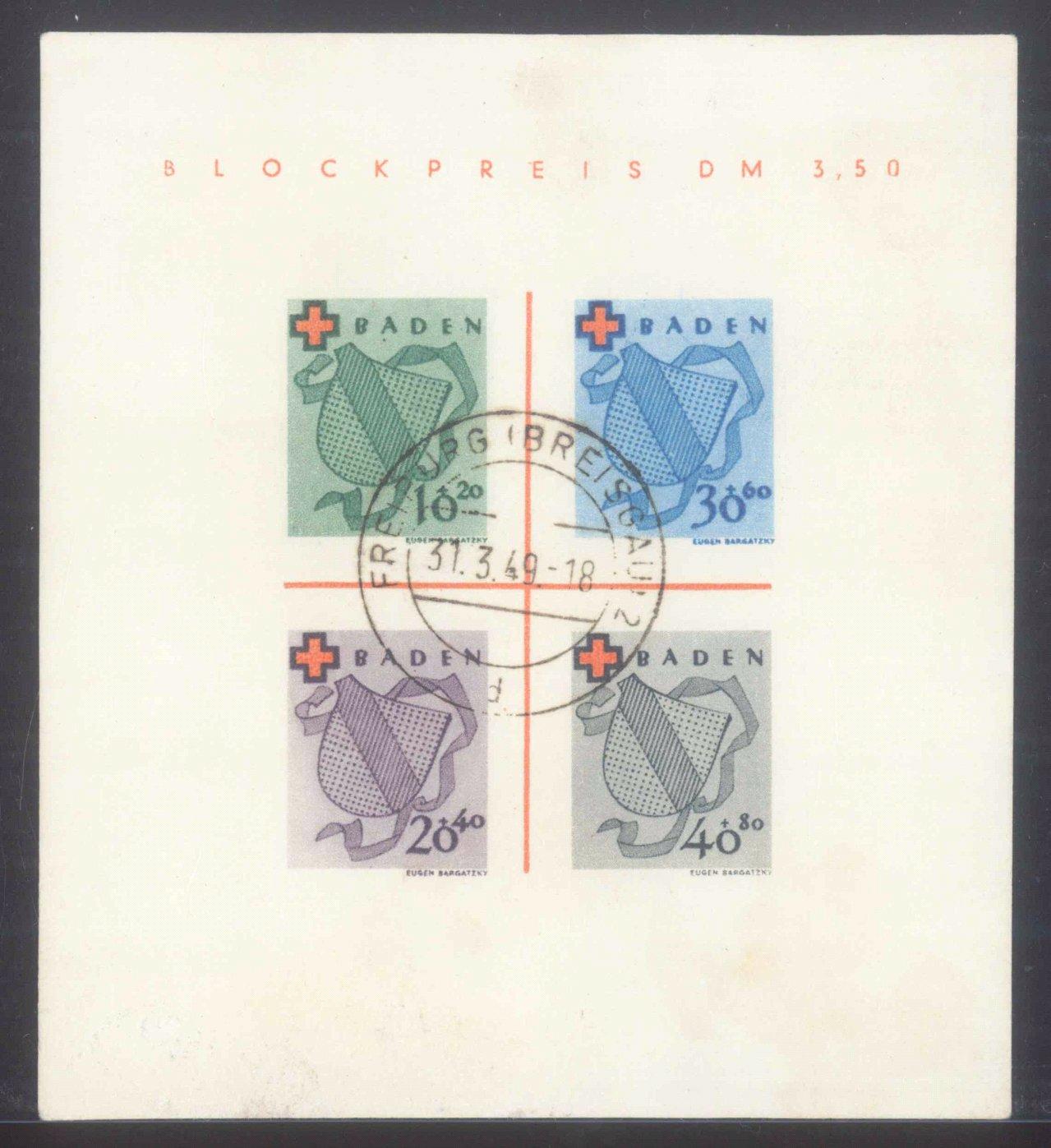 FRANZÖSISCHE ZONE BADEN 1949, Rotes Kreuz-Block