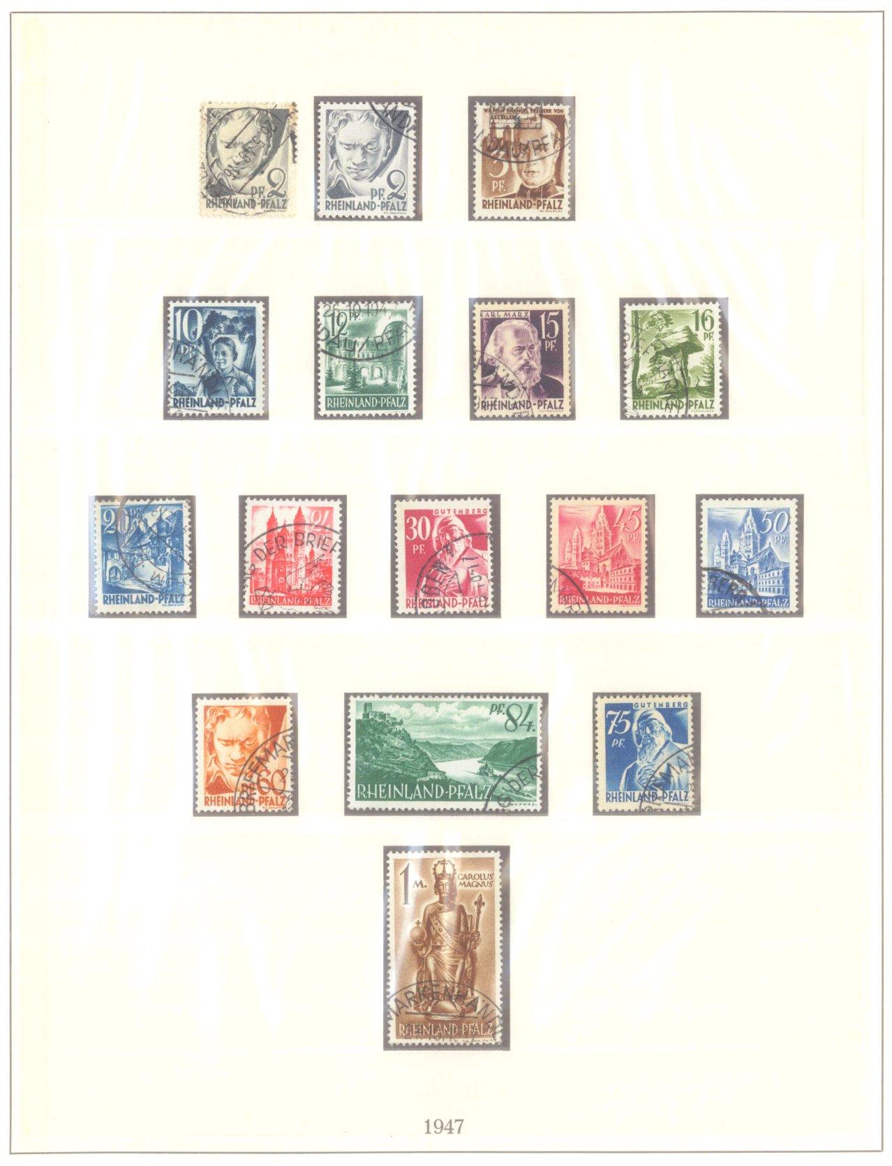 FRANZÖSISCHE ZONE RHEIN-PFALZ 1947-1948, Freimarken (I-III)