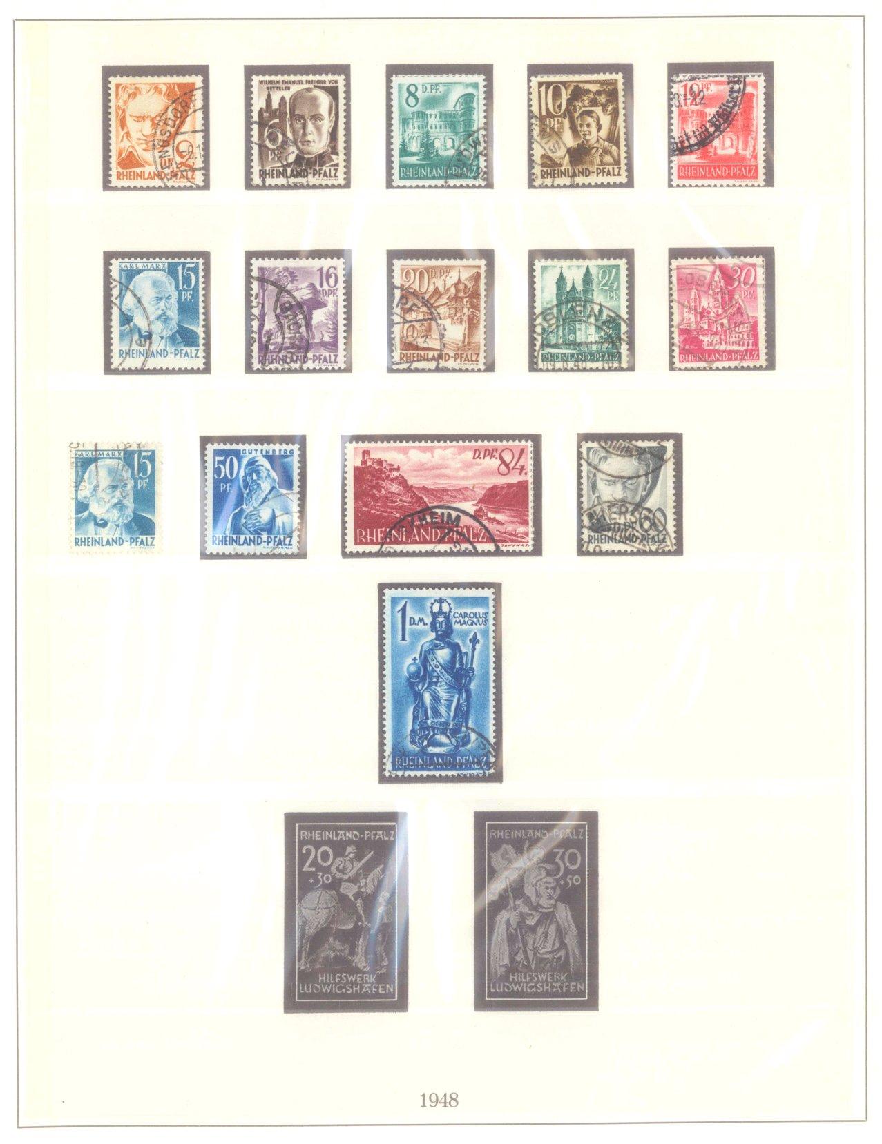 FRANZÖSISCHE ZONE RHEIN-PFALZ 1947-1948, Freimarken (I-III)-1