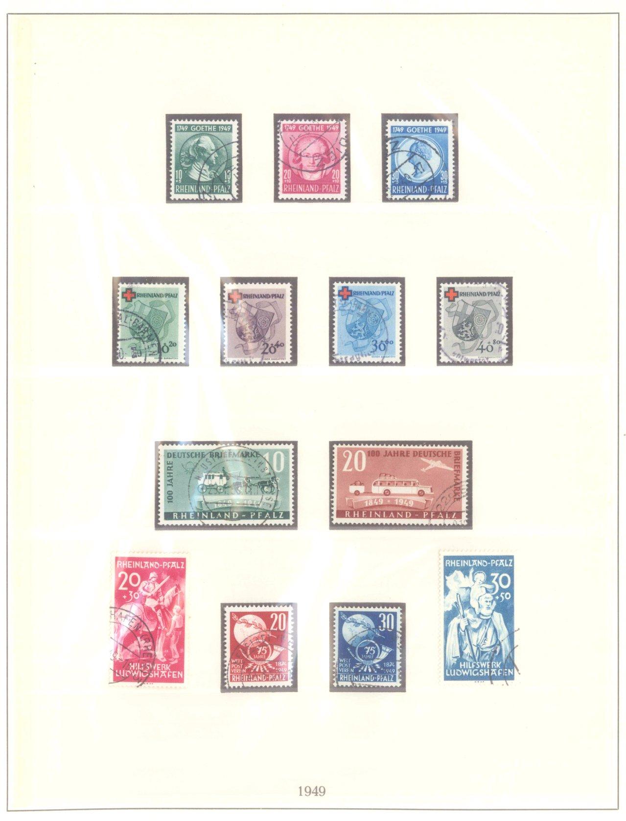 FRANZÖSISCHE ZONE RHEIN-PFALZ 1948/49, 5 komplette Ausgaben
