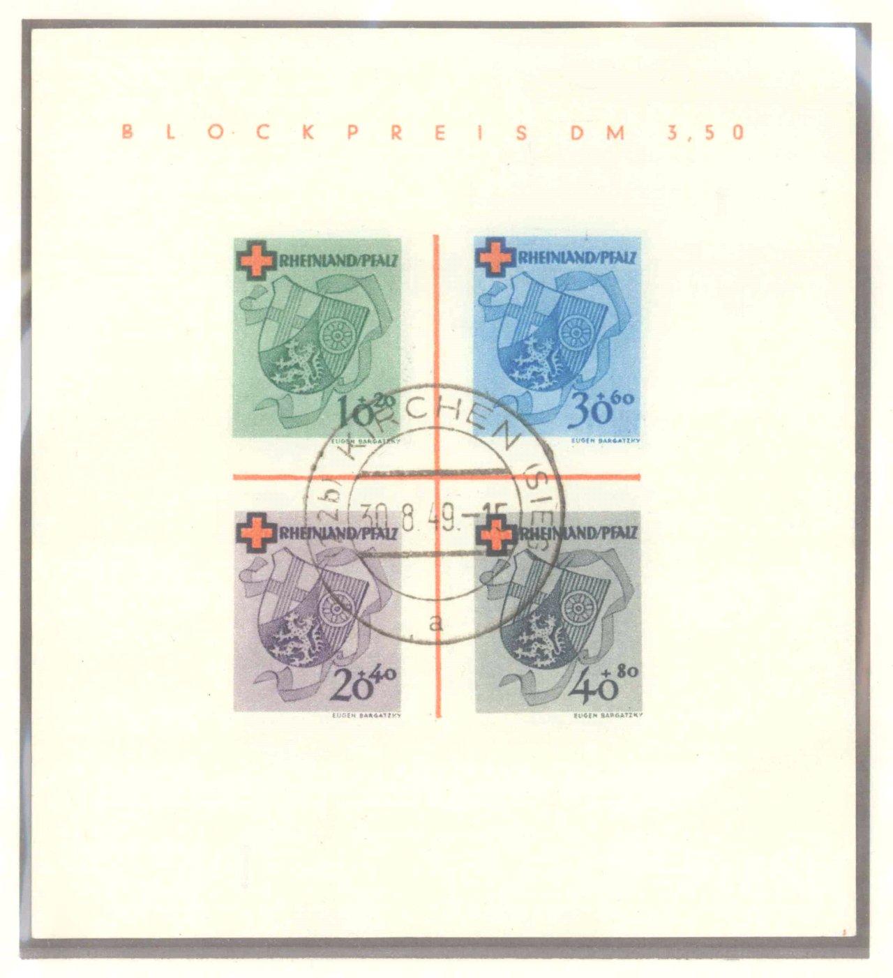 FRANZÖSISCHE ZONE RHEIN-PFALZ 1949, Rotes Kreuz-Block