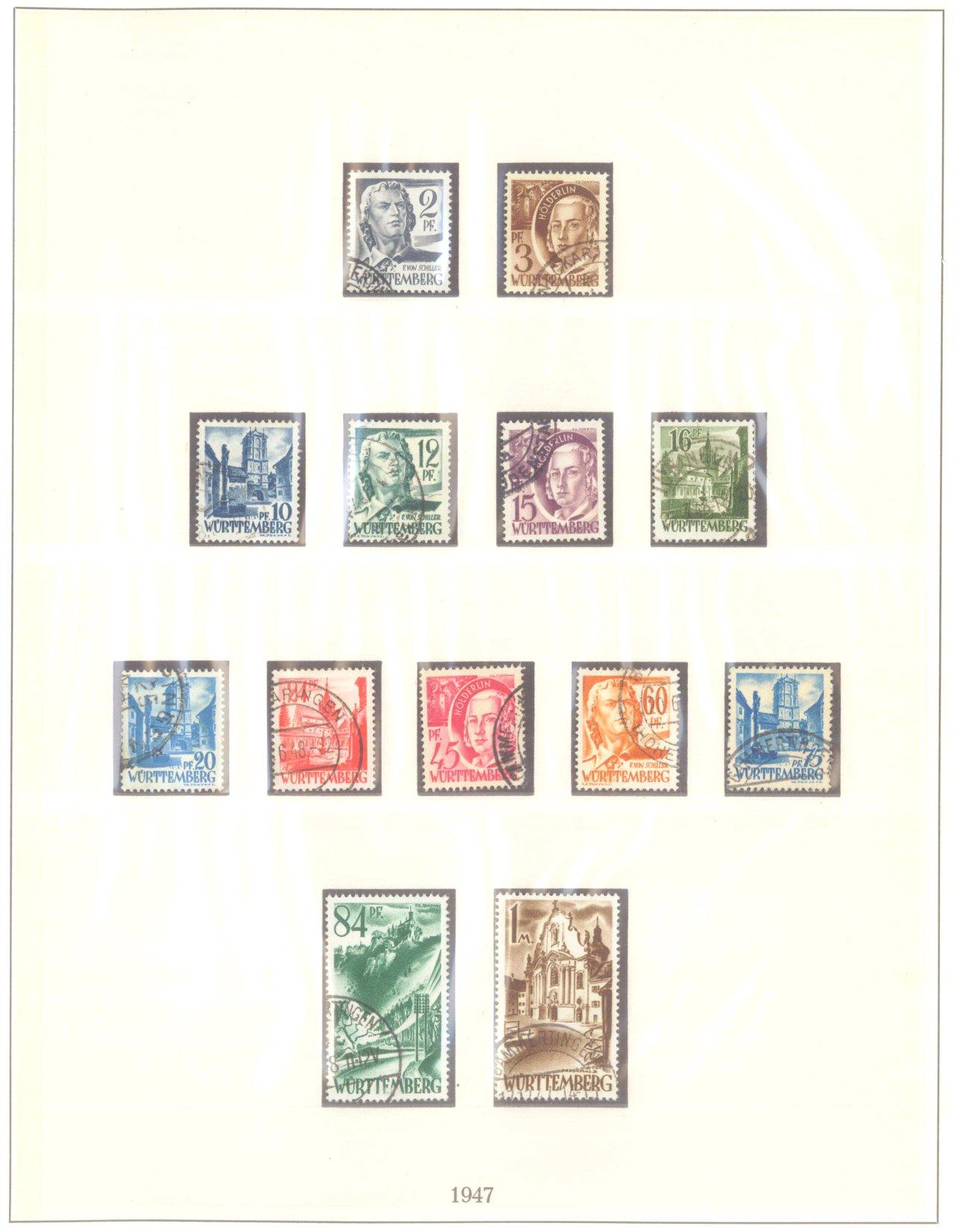 FRANZÖSISCHE ZONE WÜRTTEMBERG 1947-1948, Freimarken (I-III)