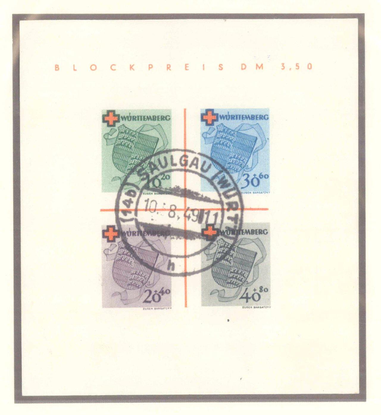 FRANZÖSISCHE ZONE WÜRTTEMBERG 1949, Rotes Kreuz-Block