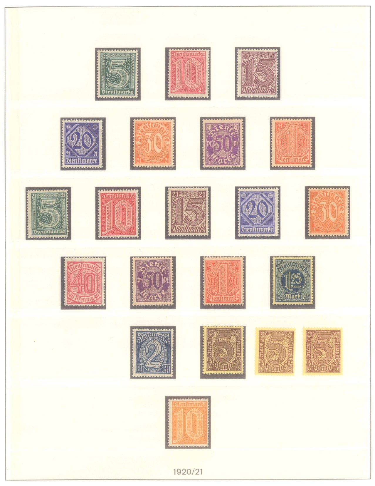 DEUTSCHES REICH INFLATIONSZEIT 1920-1923, Dienstmarken