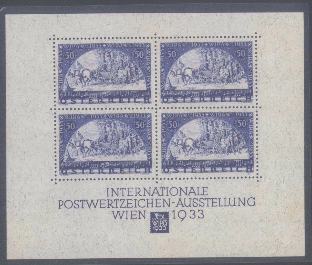 ÖSTERREICH 1933, WIPA – BLOCK, Faserpapier