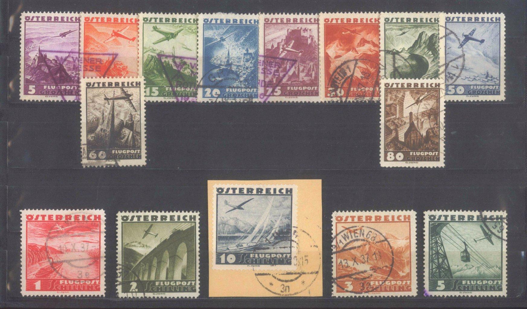 ÖSTERREICH 1935, Flugzeuge über Landschaften