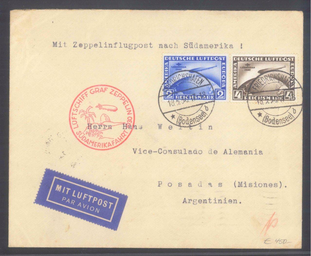 DEUTSCHES REICH 1930, ZEPPELIN SÜDAMERIKA-FAHRT