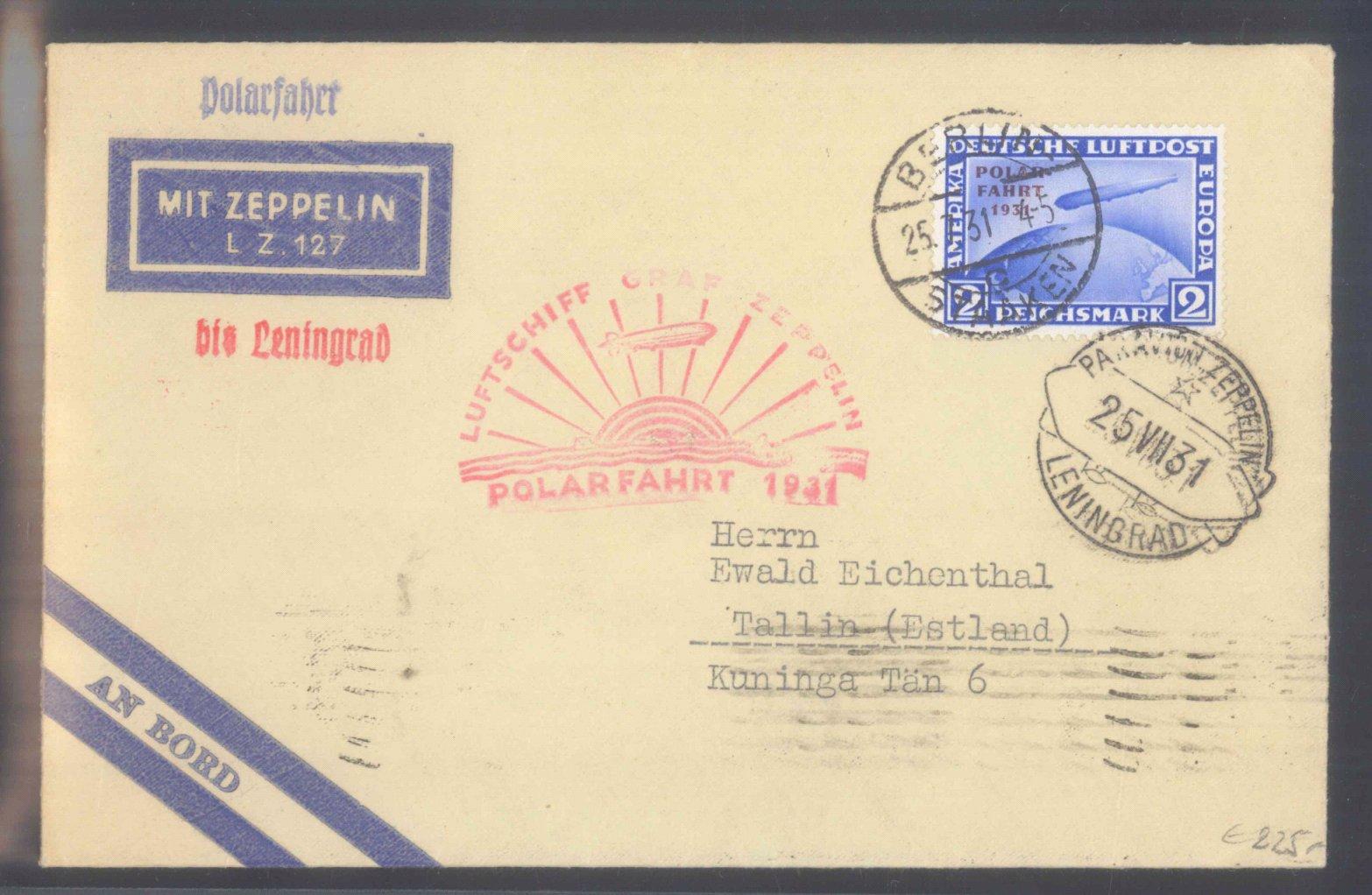 DEUTSCHES REICH 1931, ZWEI MARRK ZEPPELIN POLAR-FAHRT