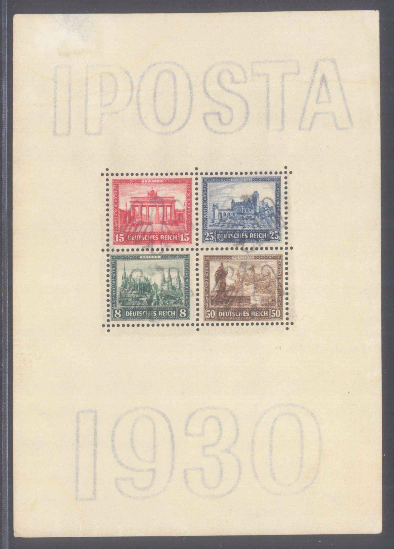DEUTSCHES REICH 1930, IPOSTA – BLOCK