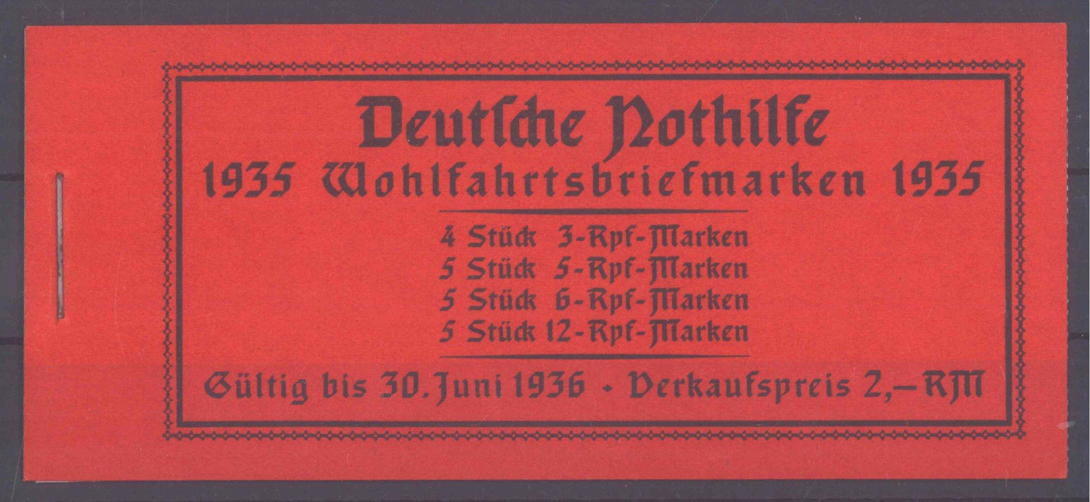 III. REICH, MARKENHEFTCHEN NOTHILFE 1935 (Volkstrachten)