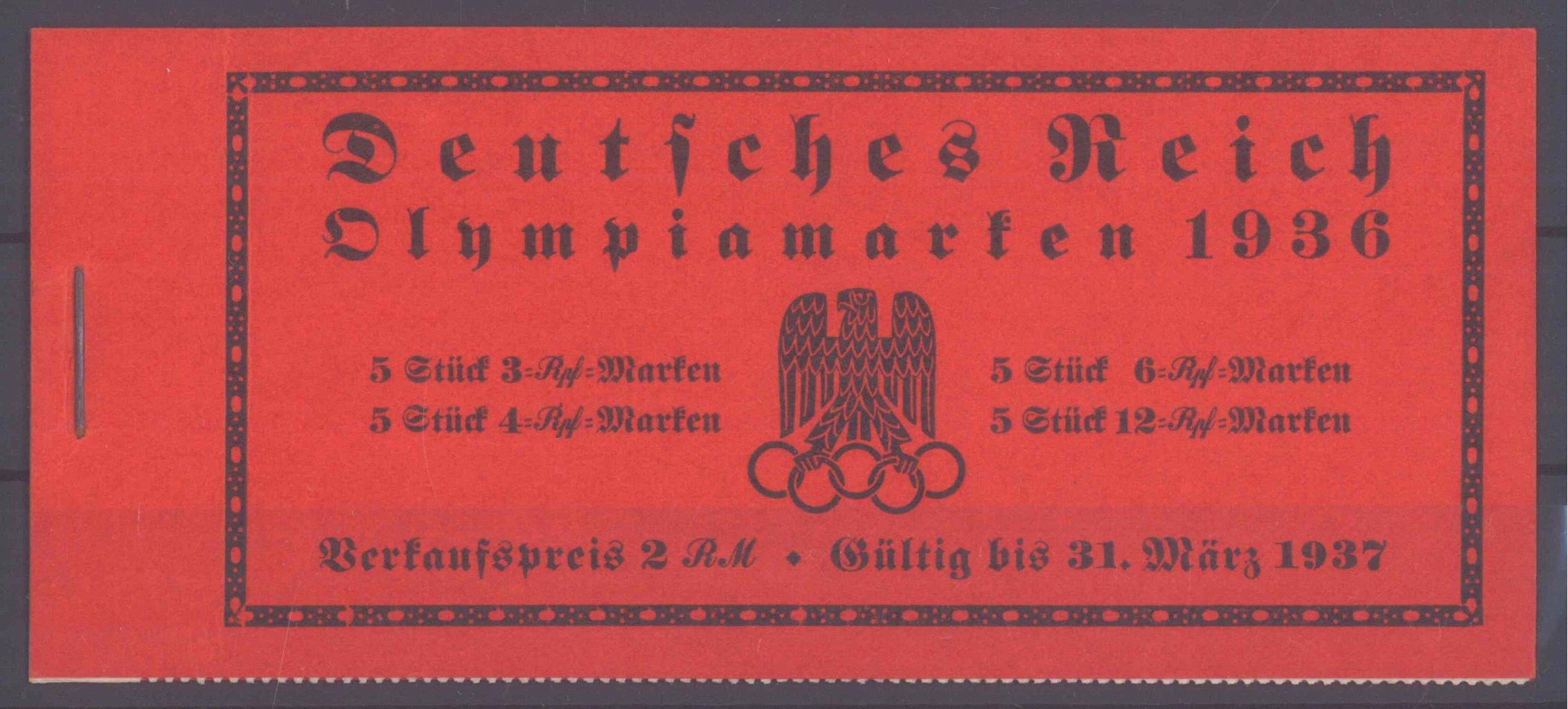 III. REICH, MARKENHEFTCHEN OLYMPIADE 1936
