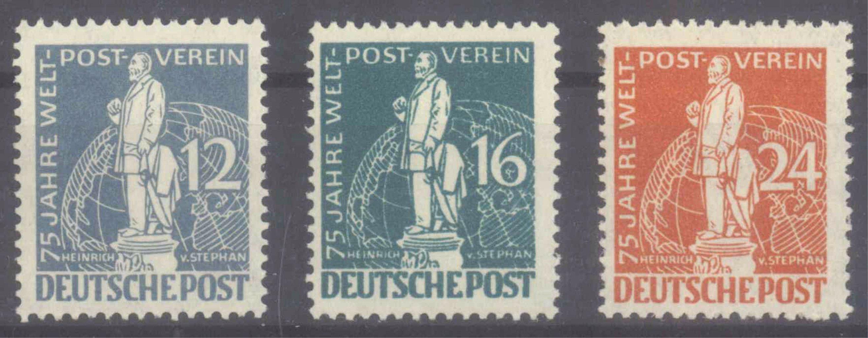 BERLIN 1949, Stephan / UPU, 3 Werte