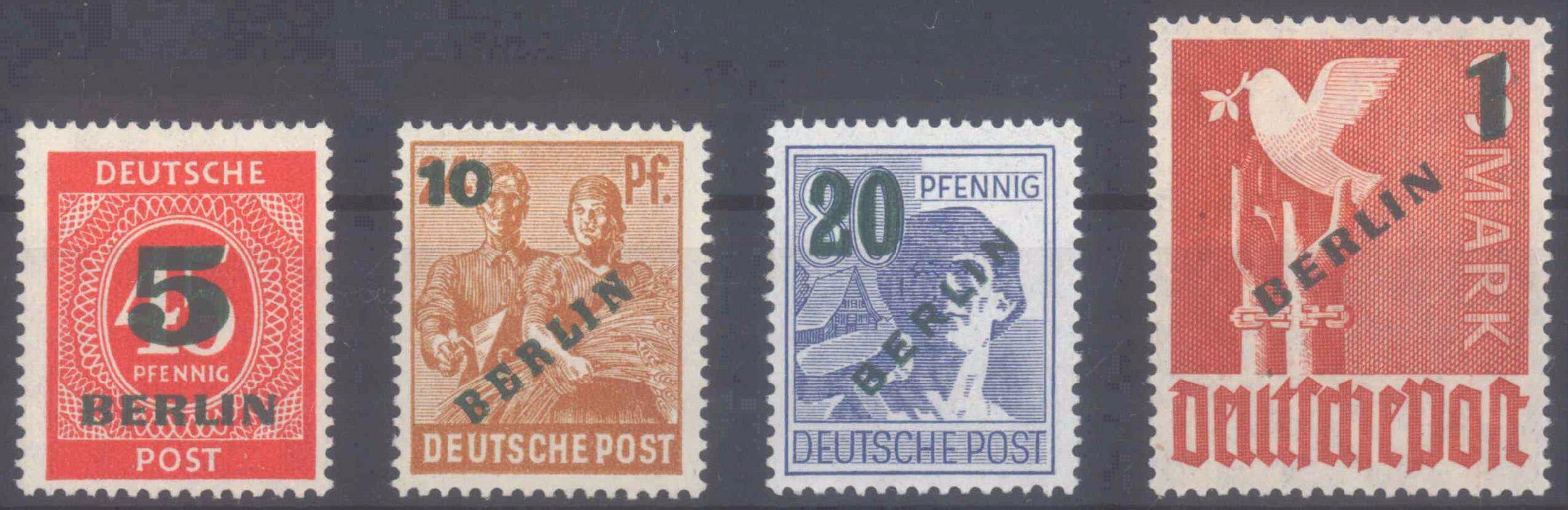 BERLIN 1949, Grünaufdruck, KW 250,- Euro, Geprüft BPP