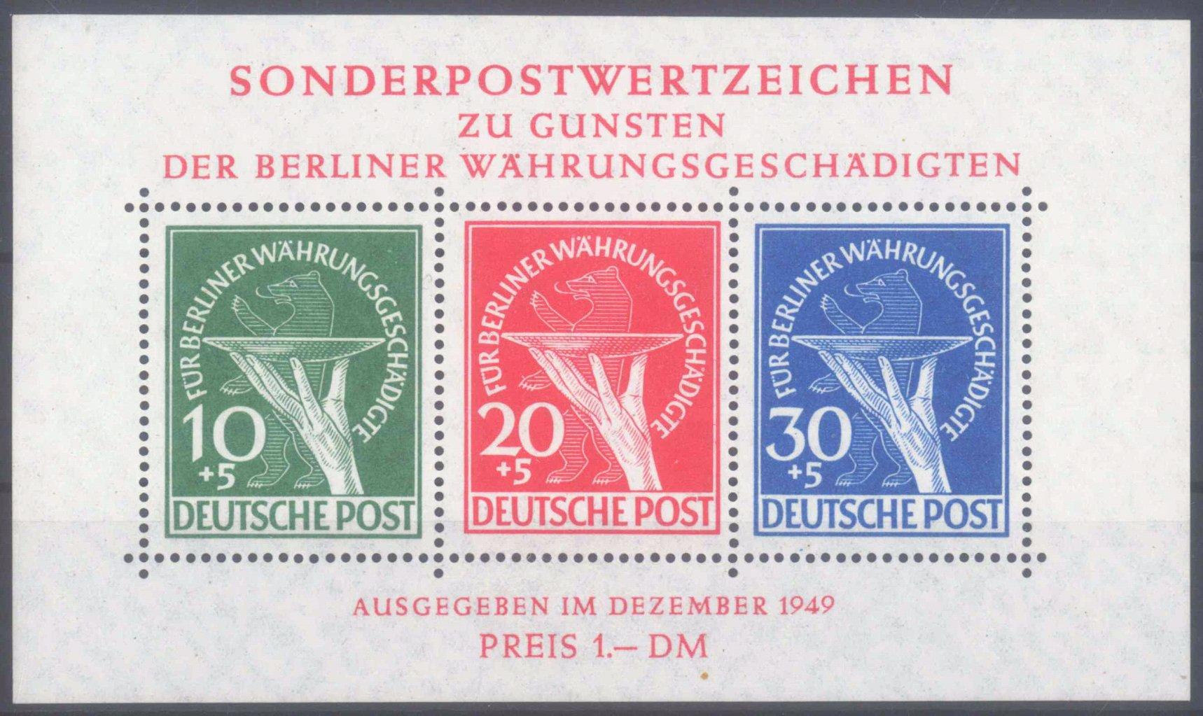 BERLIN 1949, Währungsgeschädigten – Block