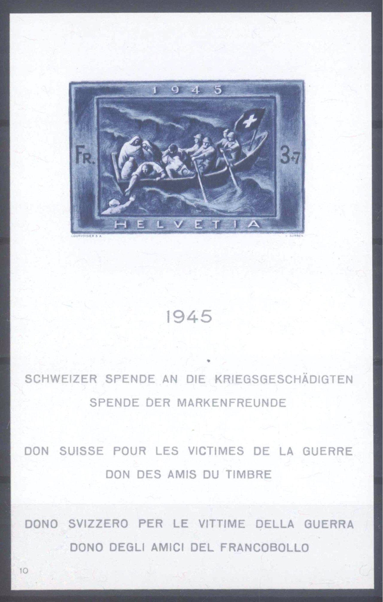 SCHWEIZ 1945, Kriegsgeschädigten-Block