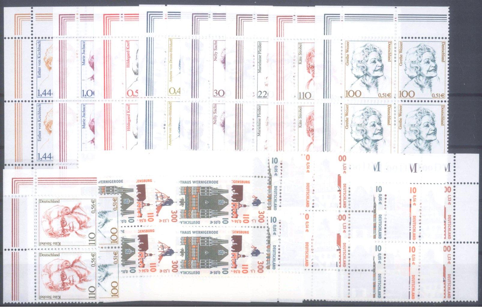 BUND 2000-2002, postfrische Nominale mit 56,- Euro