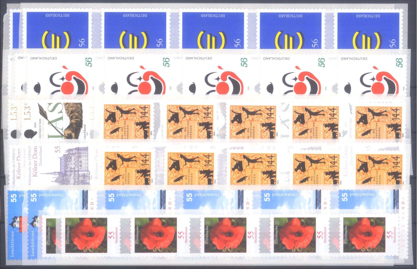 BUND 2001/2005, postfrische Nominale mit 60,- Euro
