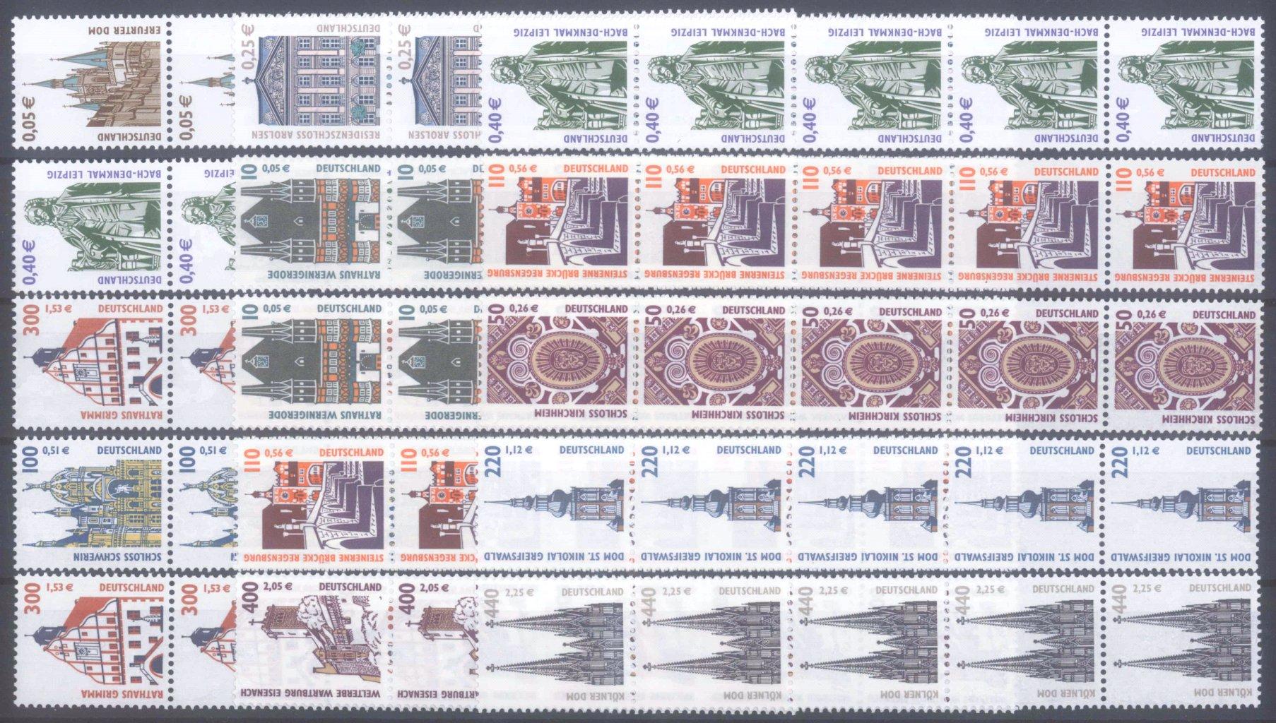 BUND 2000/2004, postfrische Nominale mit 57,- Euro