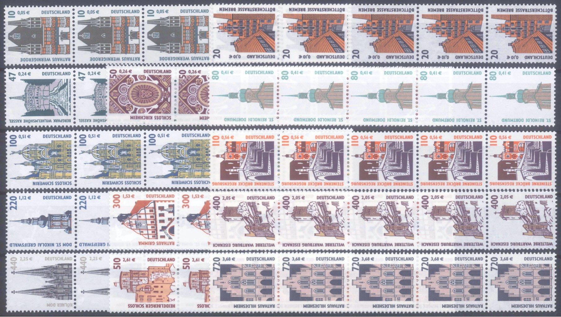 BUND 2000/2001, postfrische Nominale mit 76,- Euro