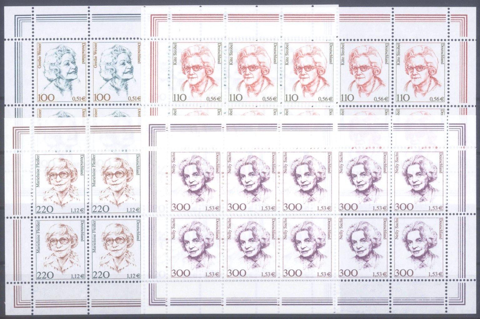 BUND 2000/2001, postfrische Nominale mit 37,- Euro