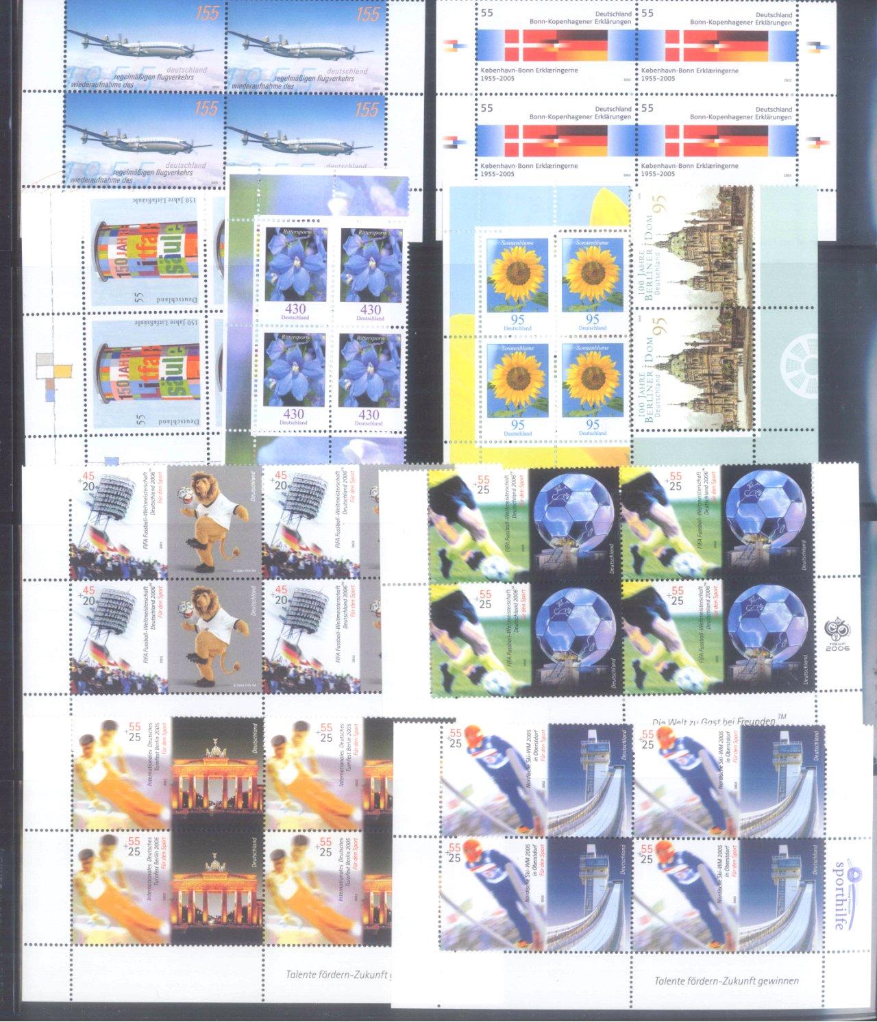 BUND 2005 postfrische 4er-BLOCK Sammlung, 168 EURO NOMINALE