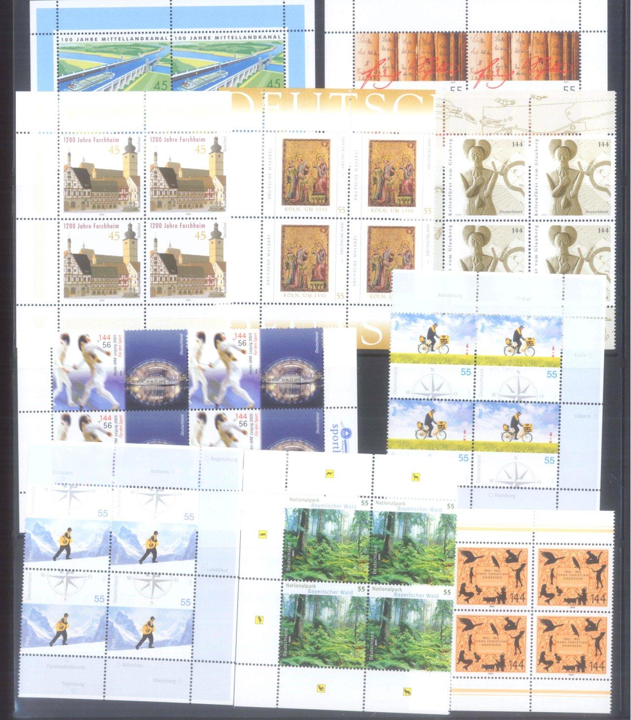 BUND 2005 postfrische 4er-BLOCK Sammlung, 168 EURO NOMINALE-1