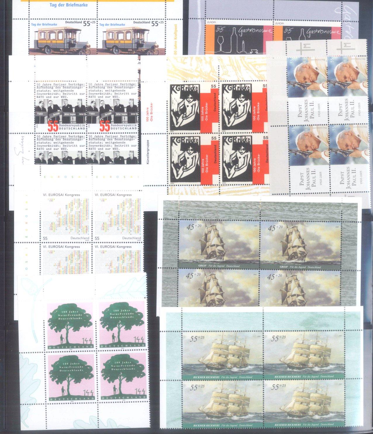 BUND 2005 postfrische 4er-BLOCK Sammlung, 168 EURO NOMINALE-2