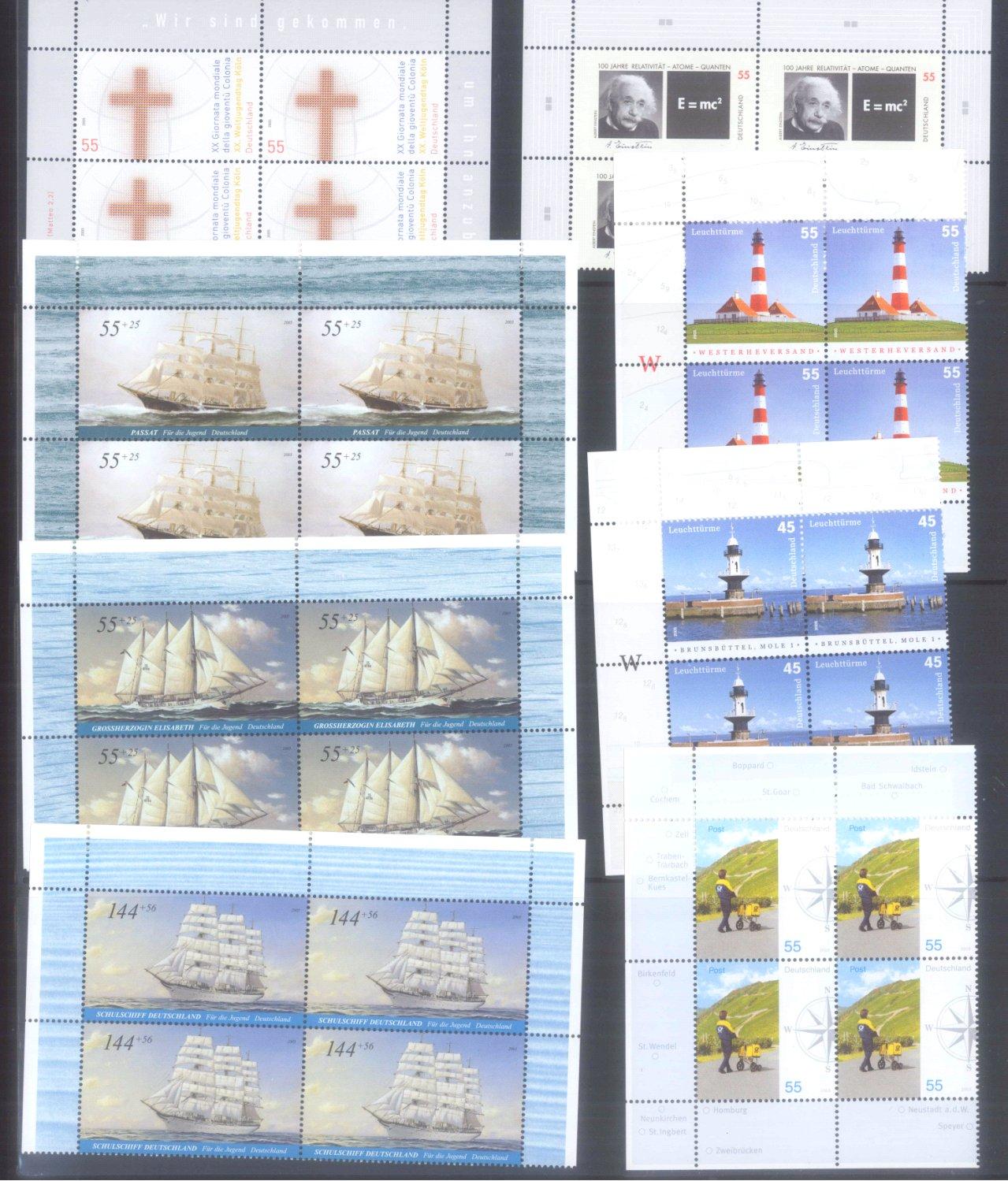 BUND 2005 postfrische 4er-BLOCK Sammlung, 168 EURO NOMINALE-3