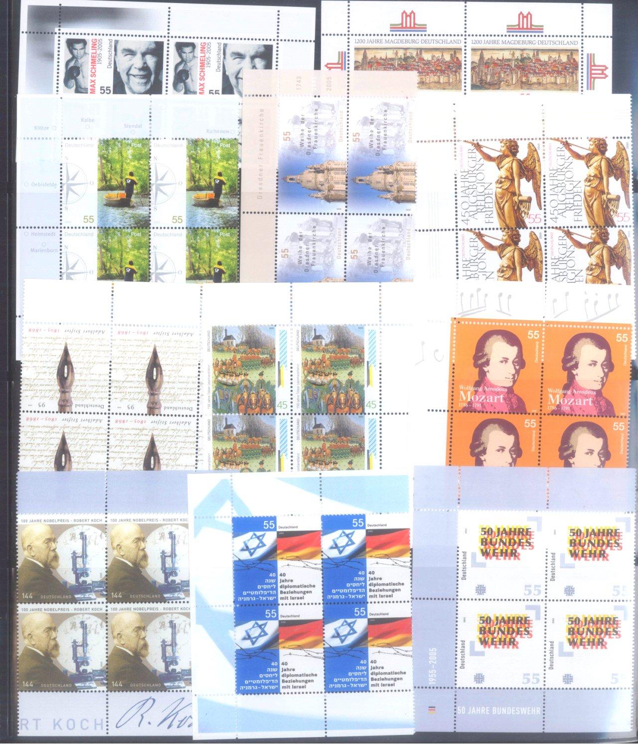 BUND 2005 postfrische 4er-BLOCK Sammlung, 168 EURO NOMINALE-4