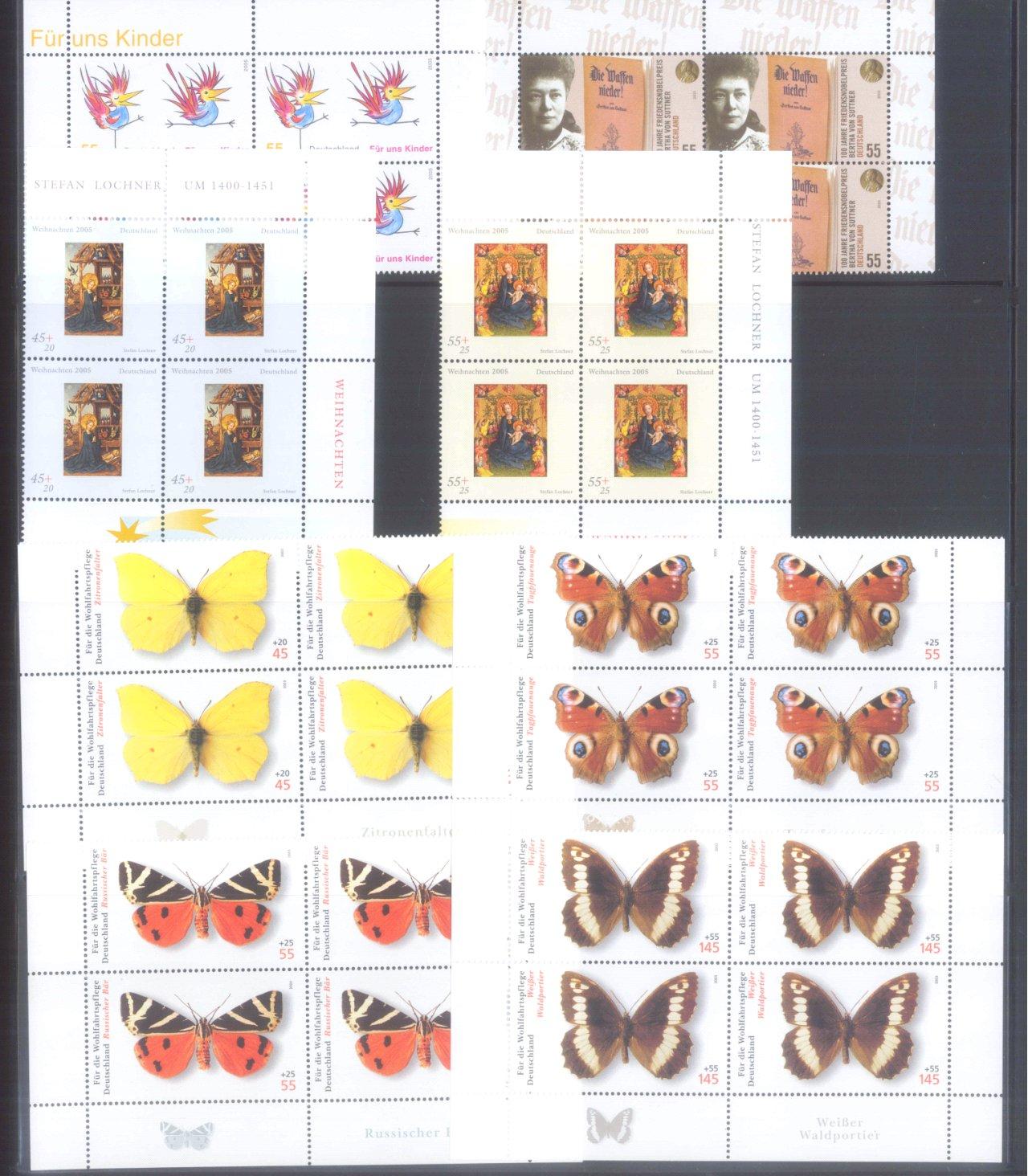 BUND 2005 postfrische 4er-BLOCK Sammlung, 168 EURO NOMINALE-5