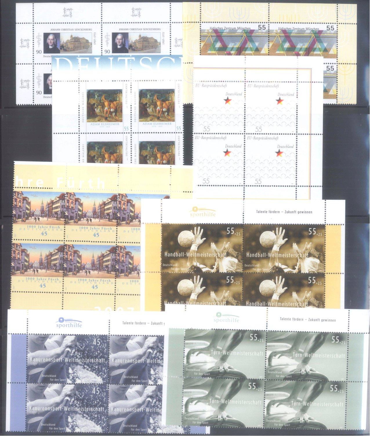 BUND 2007 postfrische 4er-BLOCK Sammlung, 135 EURO NOMINALE