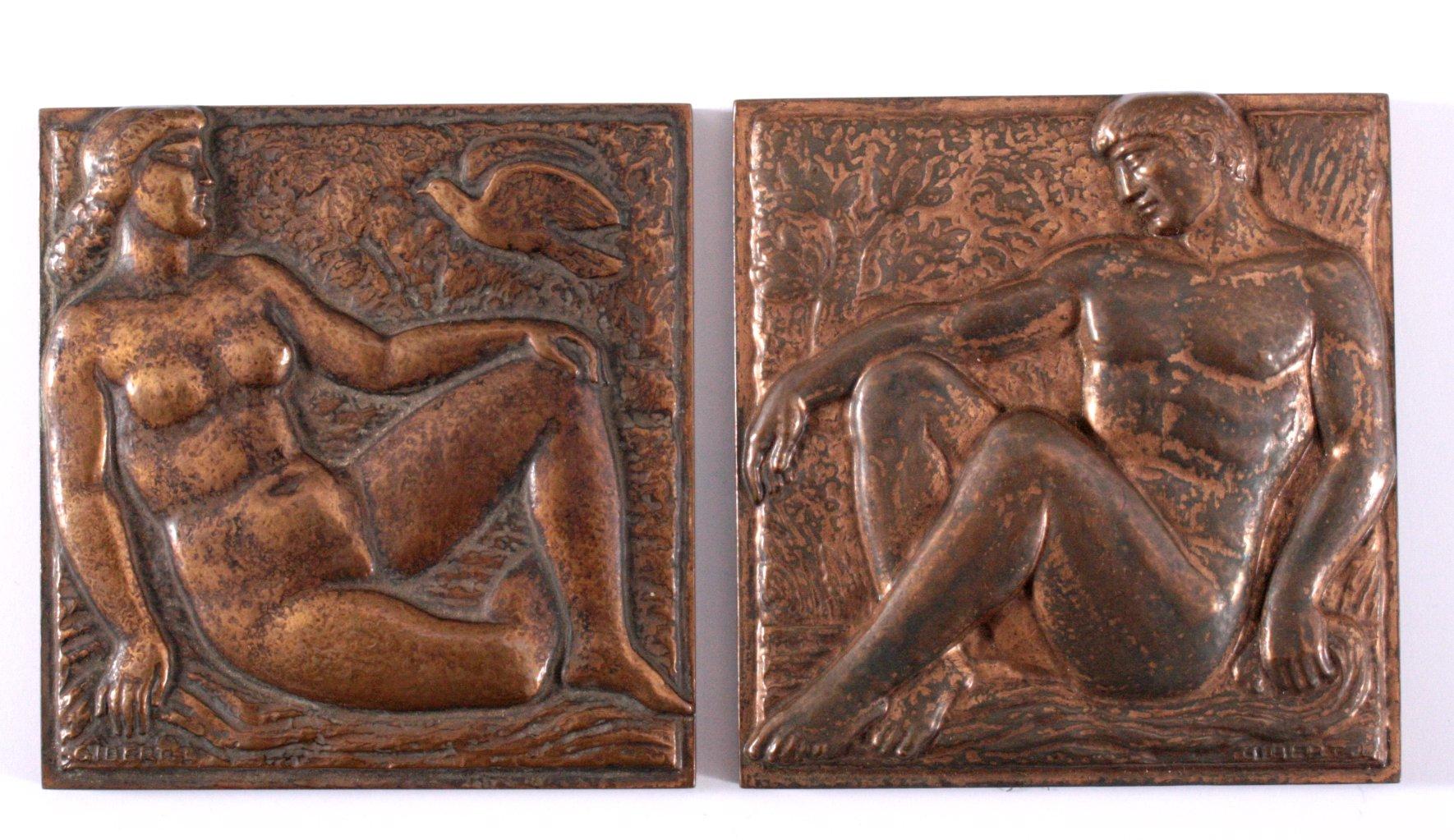 2 Relief Bronzeplatten, LUCIEN GIBERT