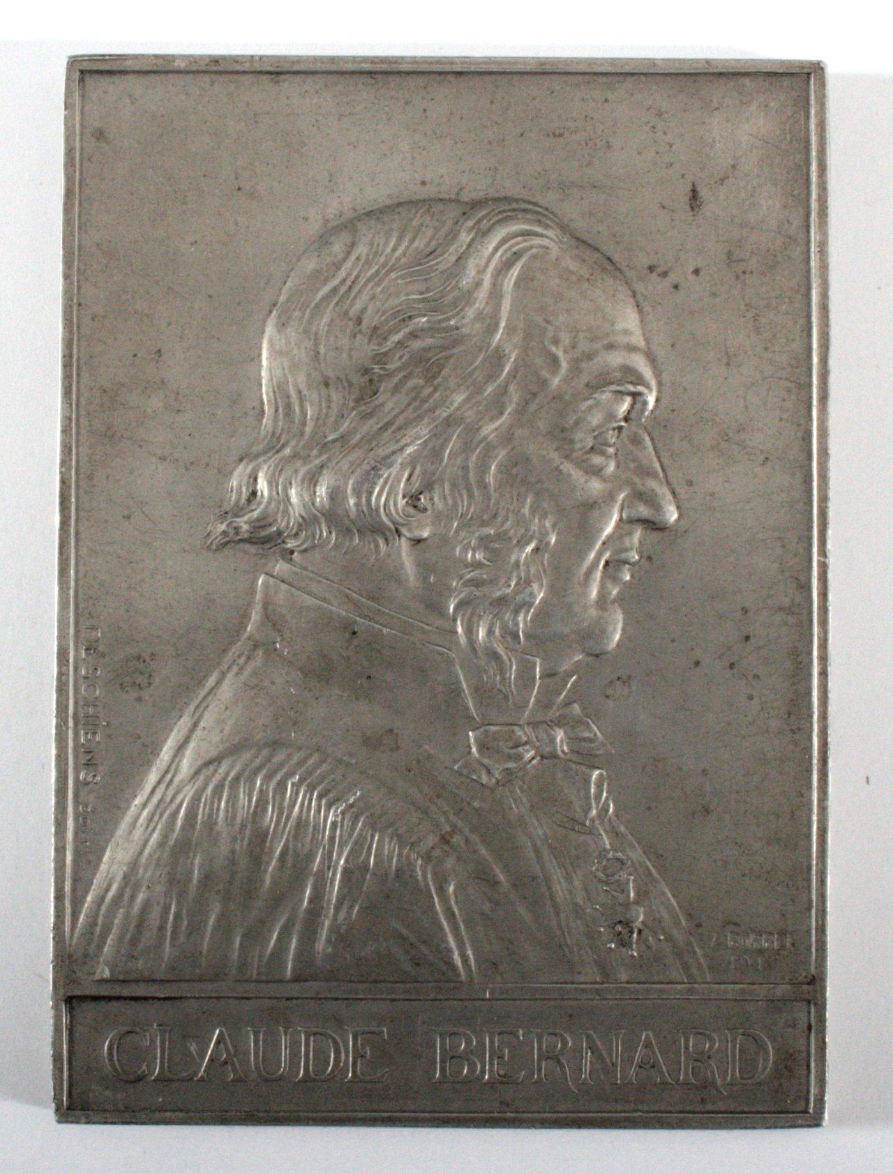 Französische Aluminiumplakette, Claude Bernard, signiert