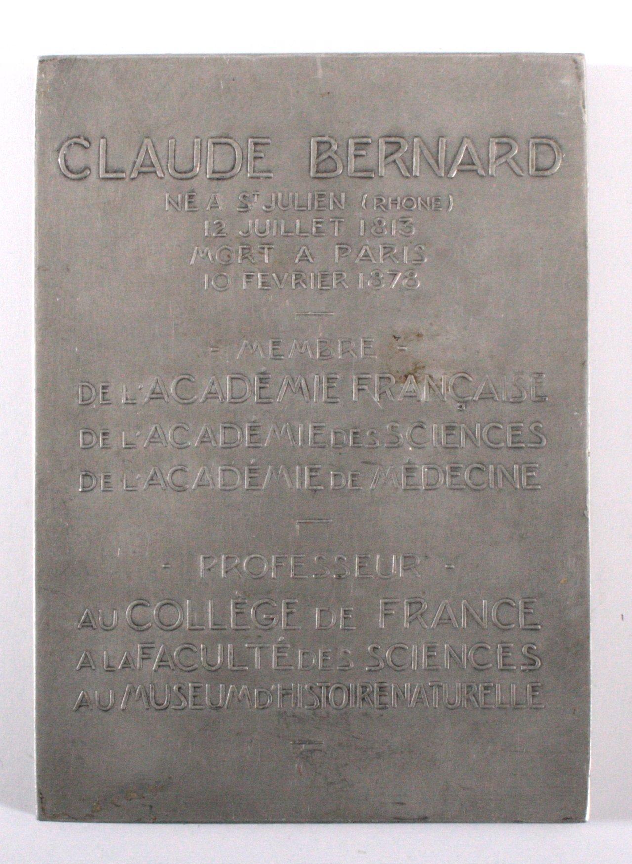 Französische Aluminiumplakette, Claude Bernard, signiert-1