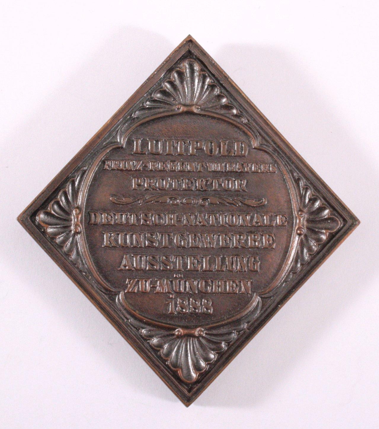 Plakette Deutsch Nationale Kunstgewerbeausstellung 1888-1
