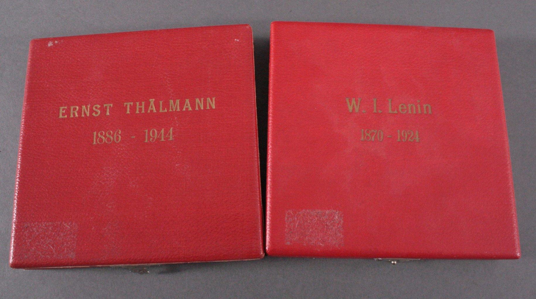 2 große Bronze Medaillen, Lenin u. Thälmann-1