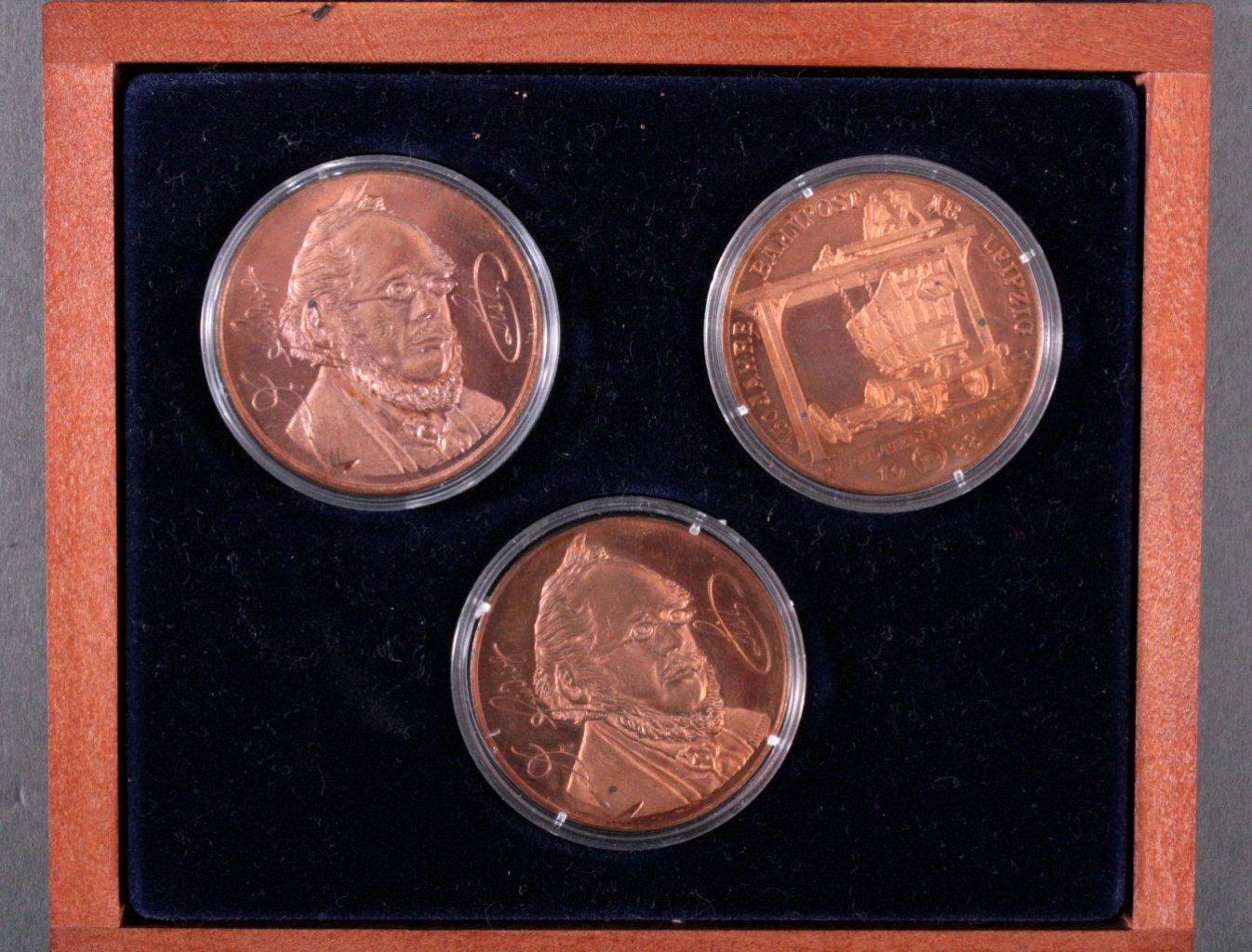 3 Medaillen DDR, 150 Jahre Bahnpost ab Leipzig