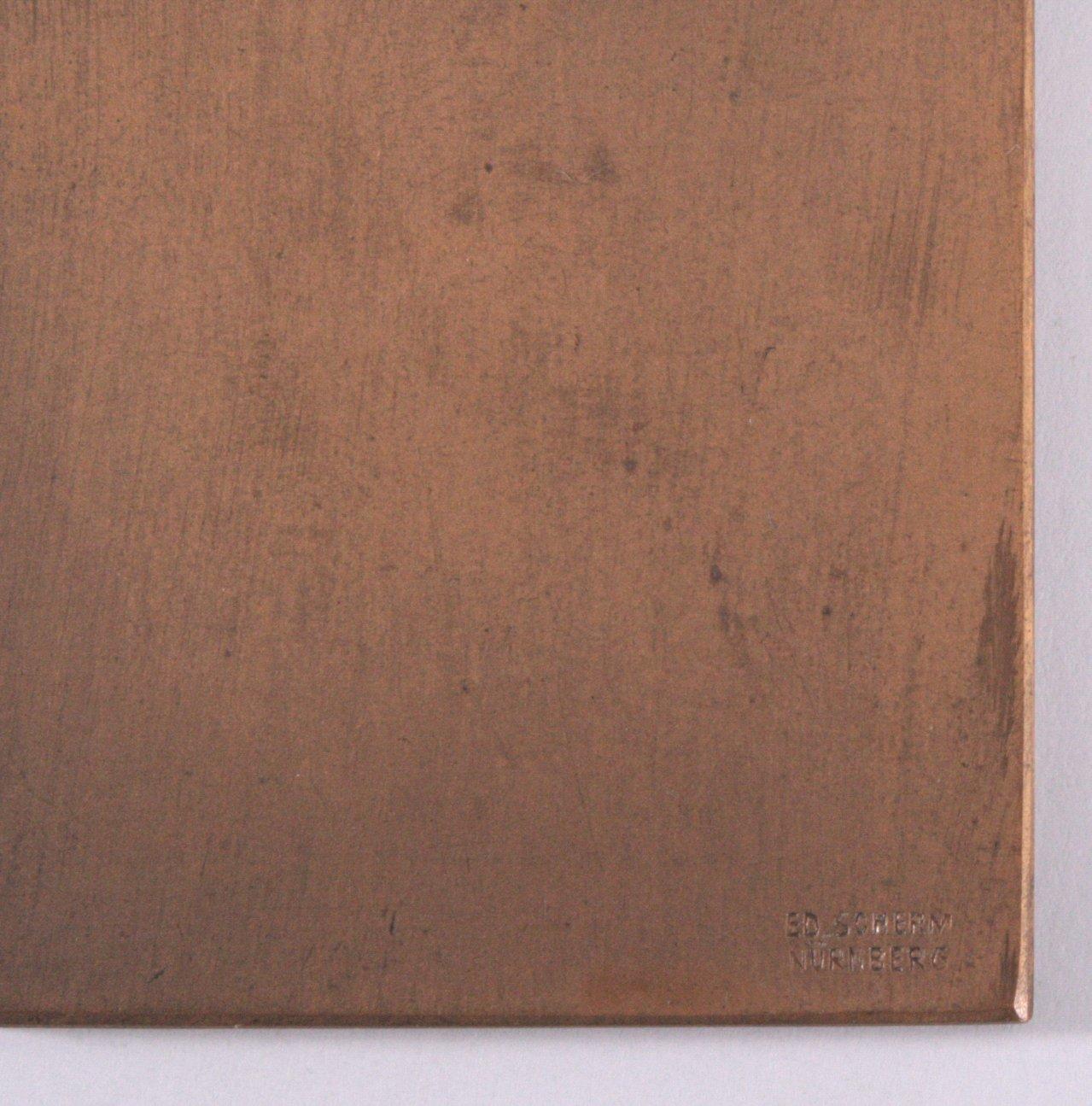 Jugendstil Plakette, Eduard Scherm Nürnberg-1