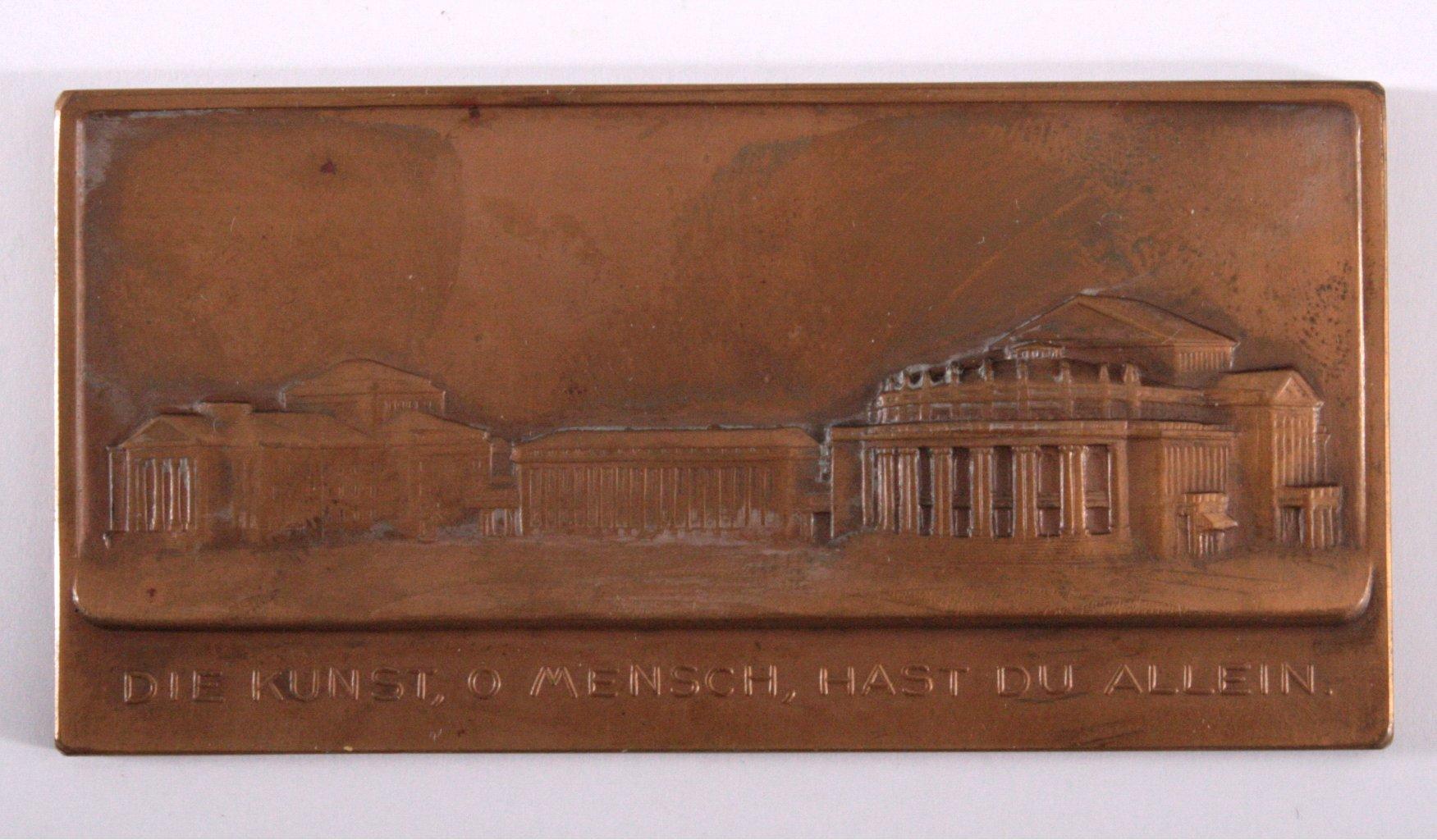 Plakette, Einweihung des Hoftheater in Stuttgart 1912