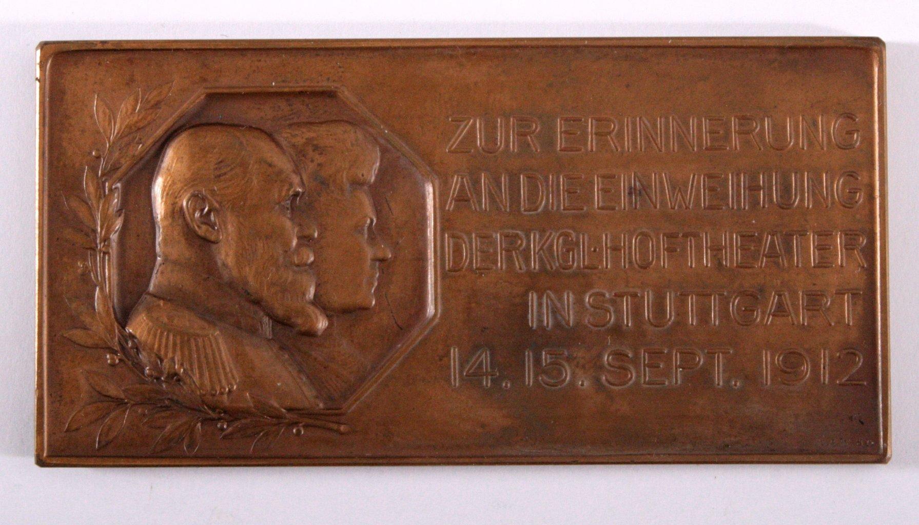 Plakette, Einweihung des Hoftheater in Stuttgart 1912-1