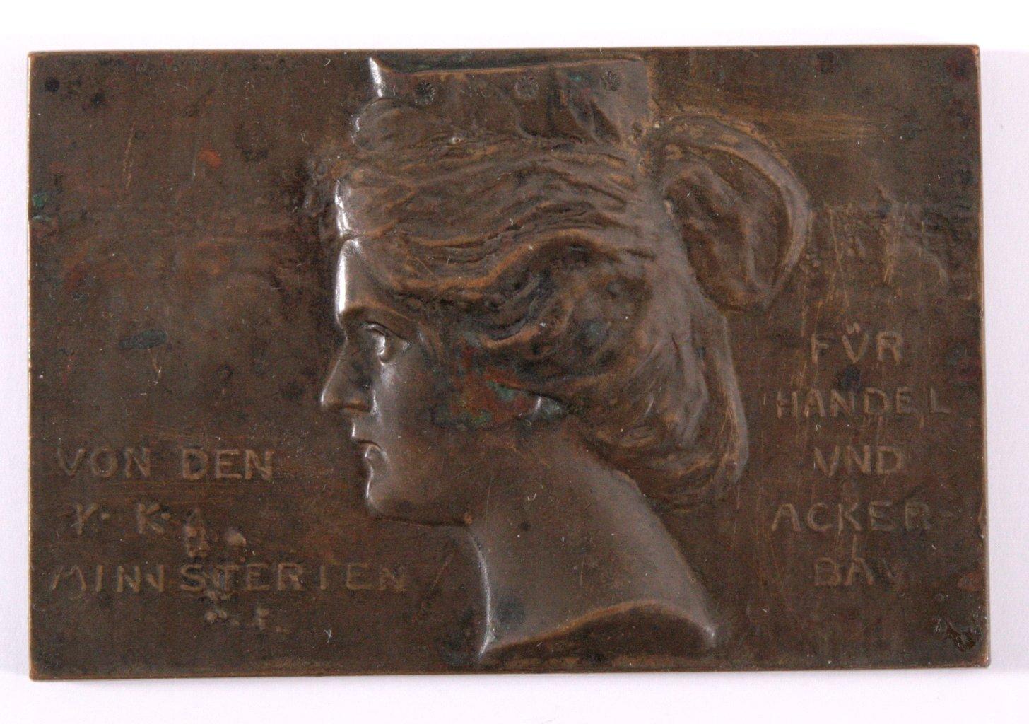 Plakette, Ausstellung Spiritusverwertung 1904 in Wien