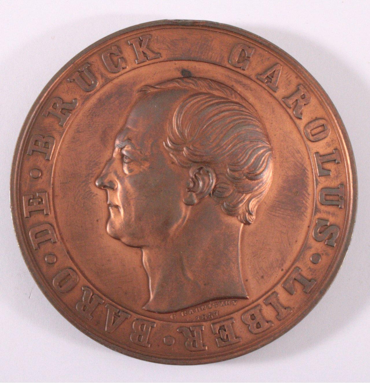 Medaille, Carolus Liber Baro de Bruck, 1857