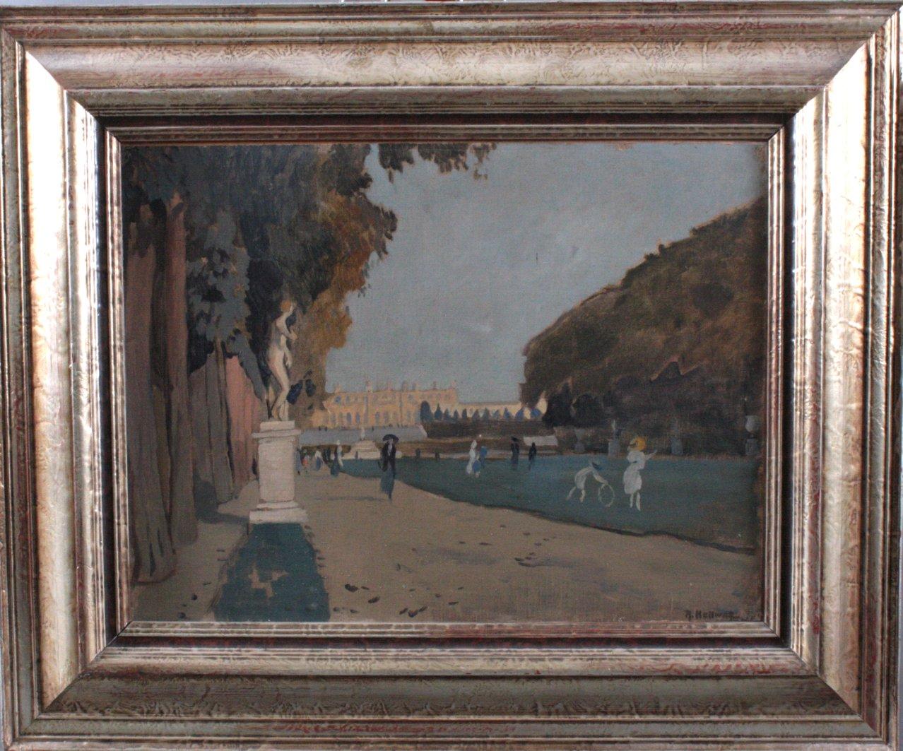 """Rudolf HELLWAG (1867-1942) """" Schloßpark mit Personen"""""""