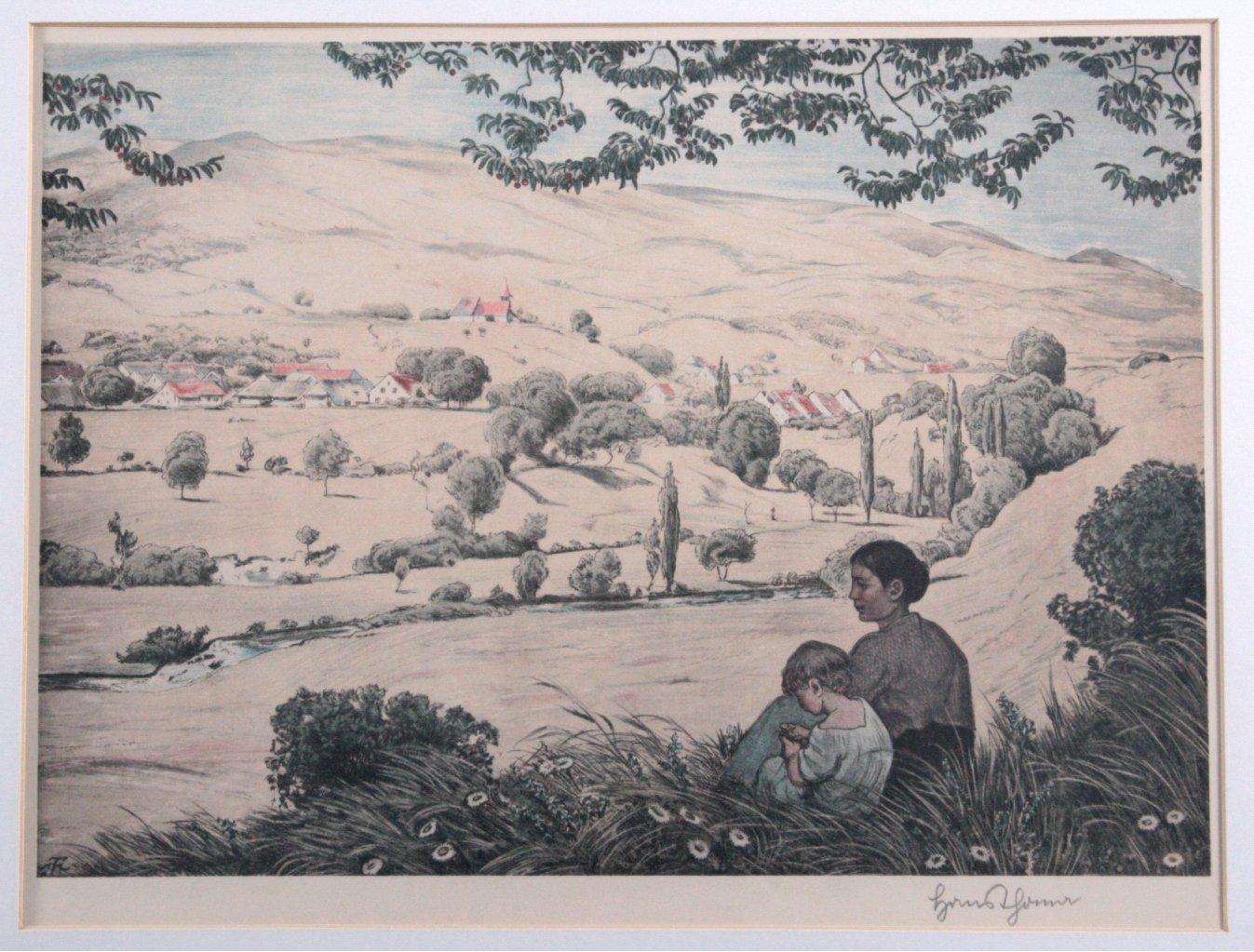 """Hans Thoma (1839-1924) """"Sommerliche Landschaft""""-1"""
