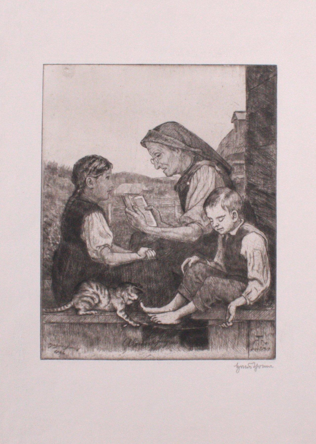 Hans Thoma 1839-1924. Großmutter beim vorlesen (1917)